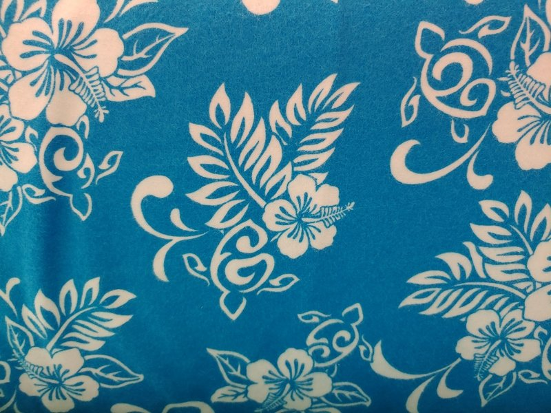 TransPacific Turquoise Hibiscus Flannel with Turtle