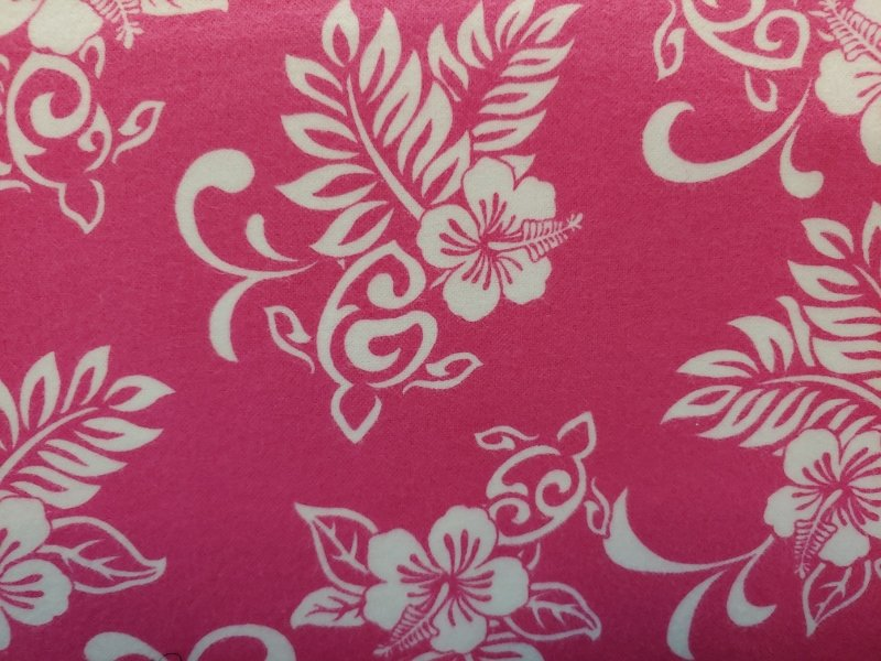 TransPacific Pink Hibiscus Flannel with Turtle