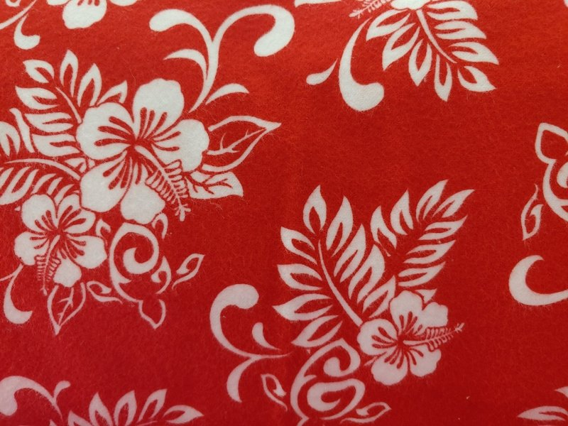 TransPacific Red Hibiscus Flannel with Turtle