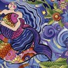 Clothworks Dark All Over Mermaid Sea Goddess