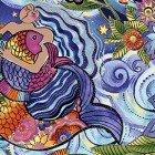 Clothworks Light All Over Mermaid Sea Goddess