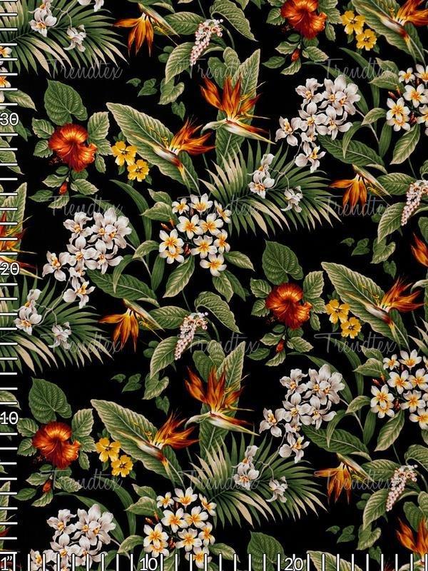 All Over Floral Black Barkcloth