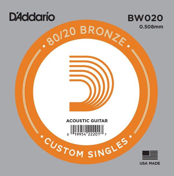 D'addario Single 80/20 Bronze Wound Size 20