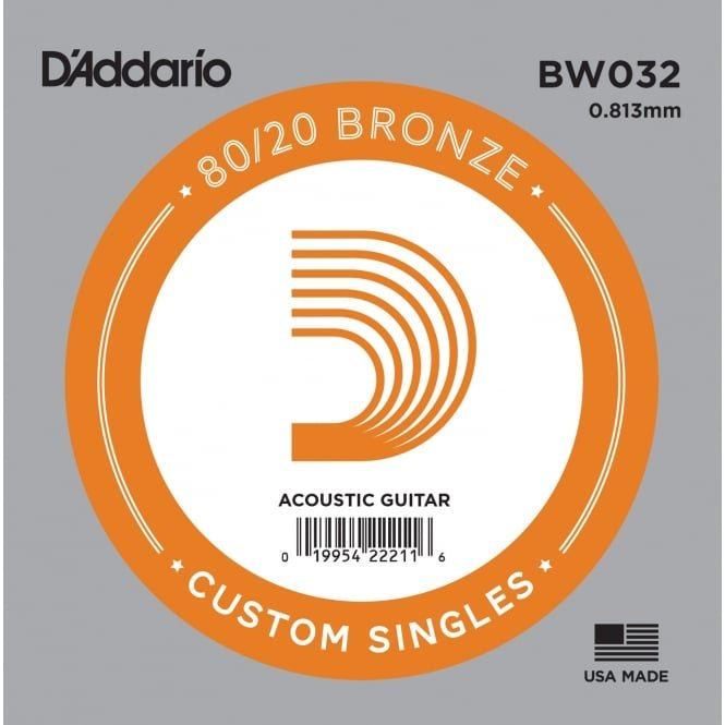 D'addario Single 80/20 Bronze Wound Size 32