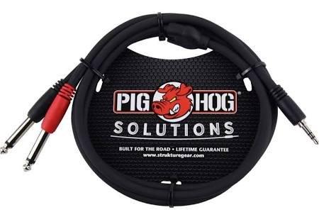 Pig Hog 3.5mm-Dual 1/4 3'