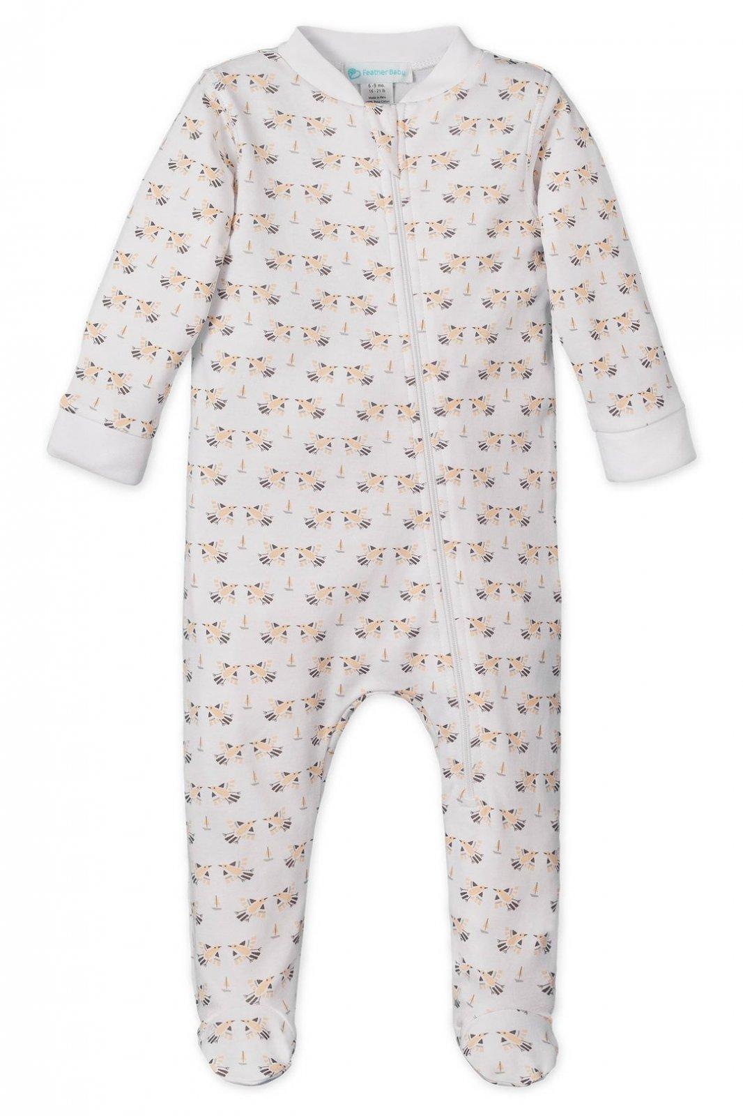Feather Baby Ruffle Kimono Footie - Doves on White