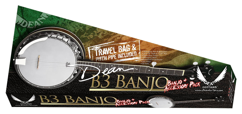 Dean B3 Banjo Pack w/Gig Bag Strap & Pitch Pipe