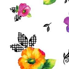 Brooke White Multi Flowers
