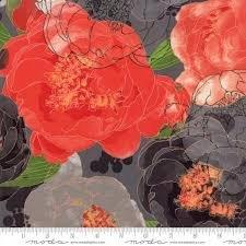 Blushing Peonies Charcoal Flora