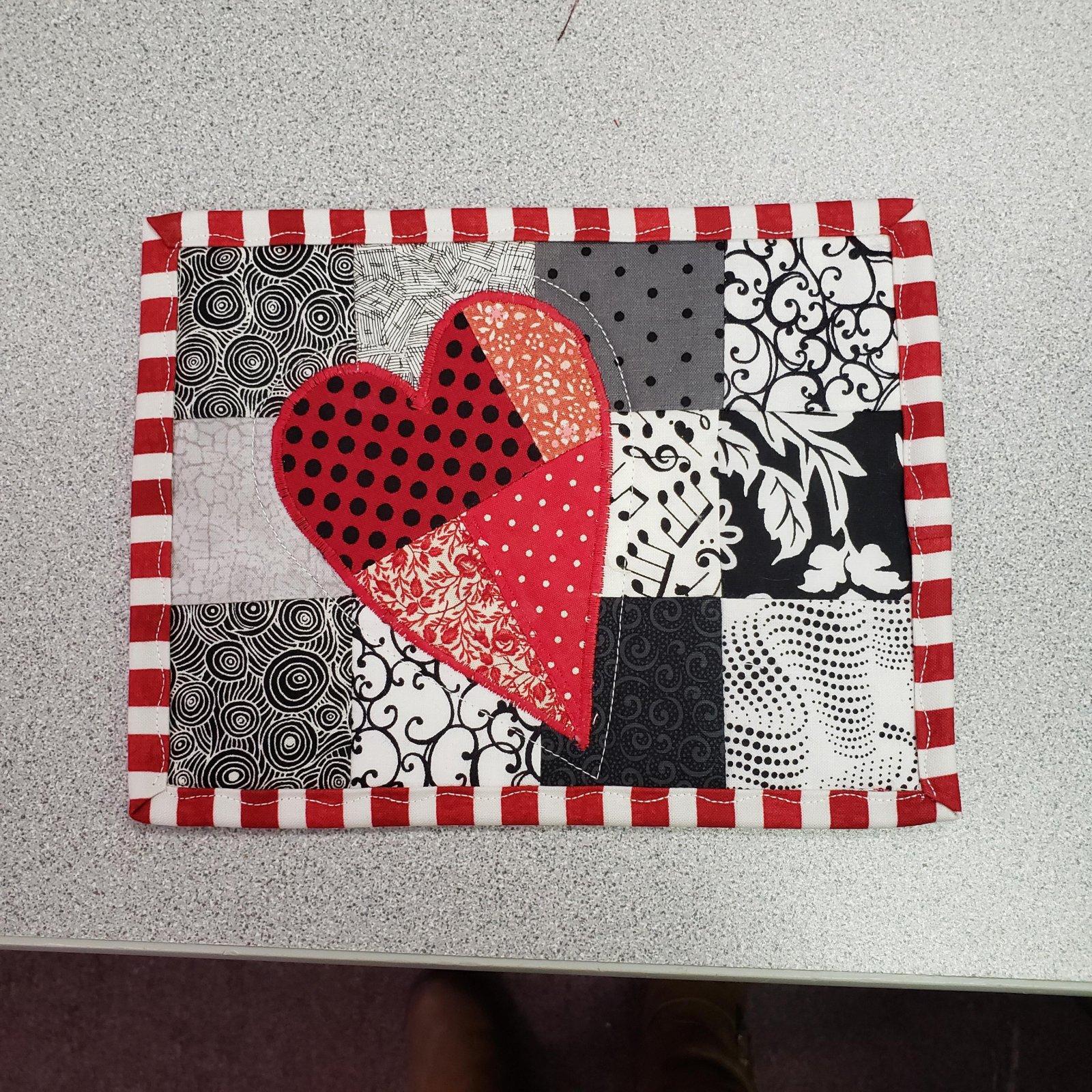 Patchwork Heart Mug Rug Feb 2021
