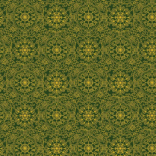 Golden Holiday, Ornamental Medallion Green by Dover Hill Studios for Benartex : 10025M-44
