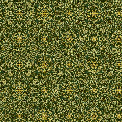 Golden Holiday, Ornamental Medallion Green by Dover Hill Studios for Benartex : 10025M-44