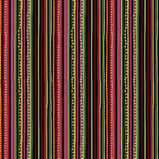 Golden Holiday, Festive Stripes by Dover Hill Studios for Benartex : 10027M-99