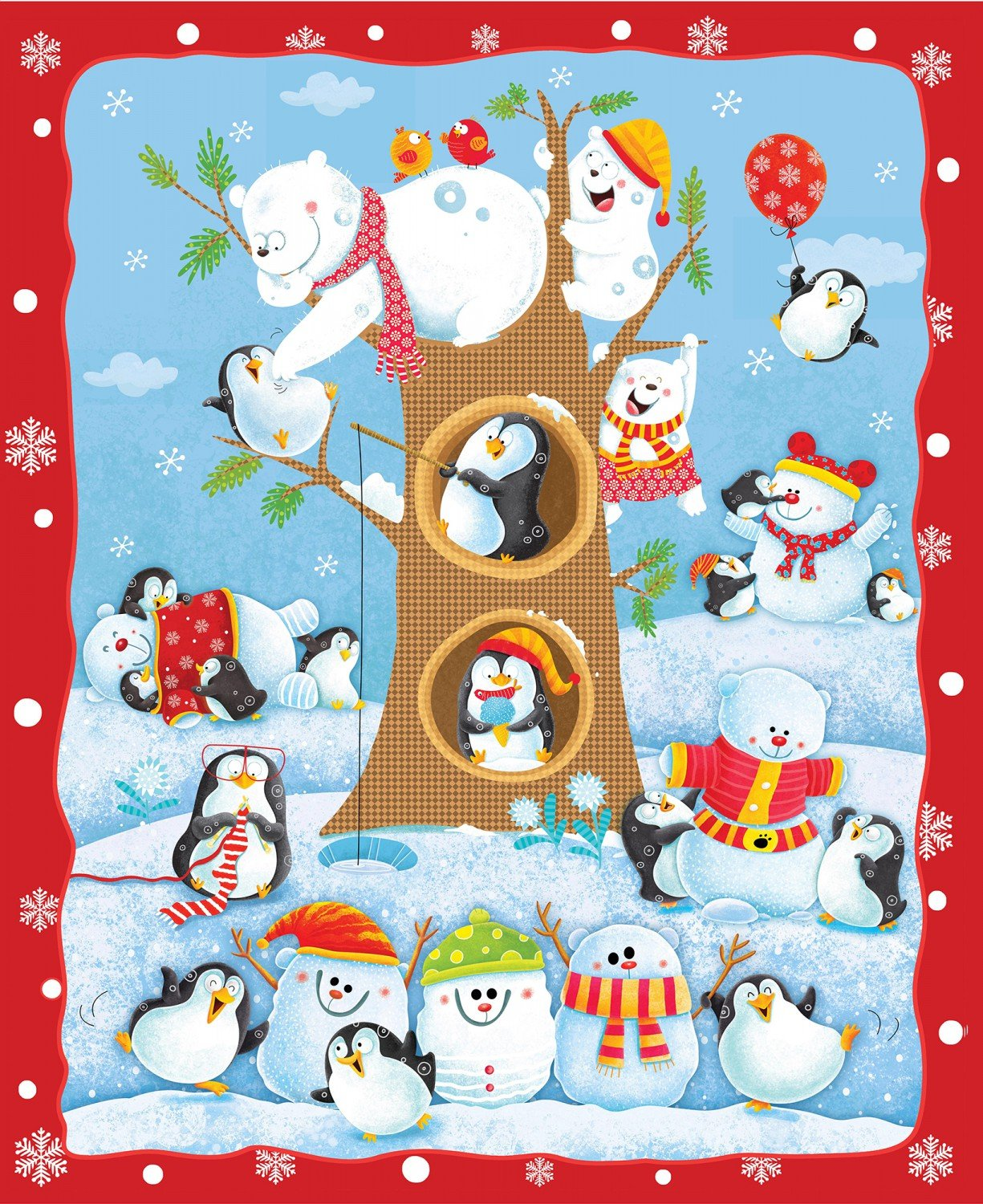 Penguin Parade, Fabric Panel 36in by Nidhi Wadhwa for Henry Glass Fabrics : 1120P-01