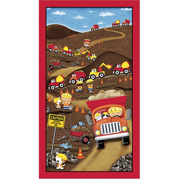 Dig It! - Construction Panel, Fabric Panel by Victoria Hutto for Quilting Treasures : 1649-24649-A