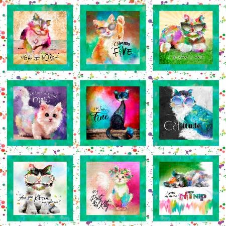 Good Kitty, Cat Panel Fabric Panel by Connie Haley for 3 Wishes Fabrics : 16541-WHT