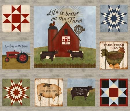 On the Farm, Barn Panel Fabric Panel by Beth Albert for 3 Wishes Fabric : 16563-MLT