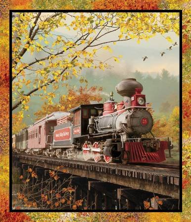 Autumn Steam, Train Panel Fabric Panel by Beth Albert for 3 Wishes Fabric : 16584-MLT