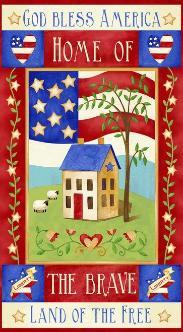 Land of the Free panel by Jane Alison for Henry Glass 1826P-87 Red