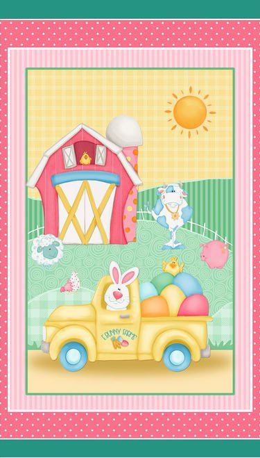 Down on the Bunny Farm panel by Shelly Comiskey for Henry Glass 1843P-22 Pink