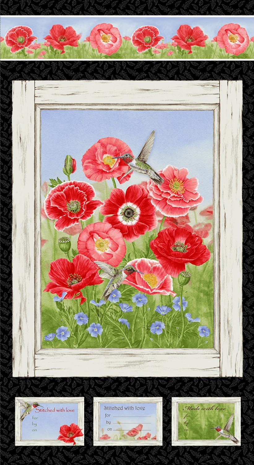 Poppy Meadow panel by Jane Shasky for Henry Glass Fabrics 1984P-89
