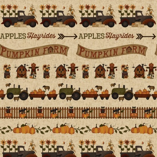 Pumpkin Farm, Border Stripe by Stacy West of Buttermilk Basin for Henry Glass Fabrics : 2051-44