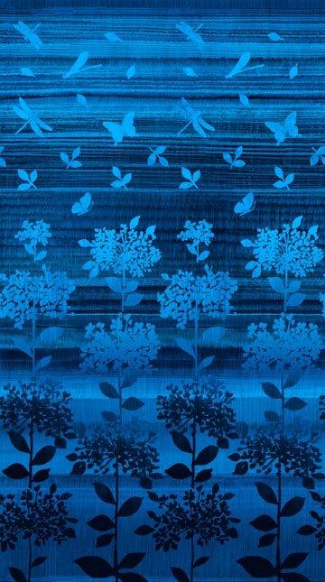 Nature Studies, Artisan Spirit, Indigo Fabric Panel by Deborah Edwards for Northcott Fabrics : 21022-49