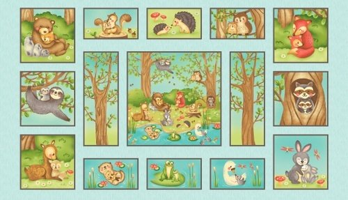 Hugs and Loves, Fabric Panel 24in by Sandy Lee for Henry Glass Fabrics : 2159-11