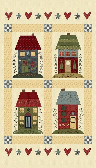 Home Sewn, Fabric Panel by Gail Pan for Henry Glass : 2225P-44