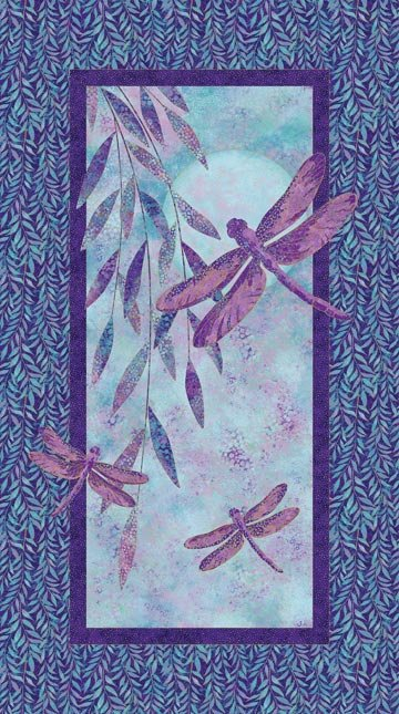 Shimmer Dragonfly Moon - Royal Garden, Fabric Panel by Jill McCloy for Northcott : 22559M-85