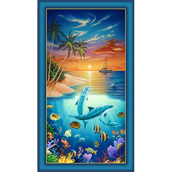 Dolphin Island, Fabric Panel by Jeff Wilkie for Quilting Treasures : 24591