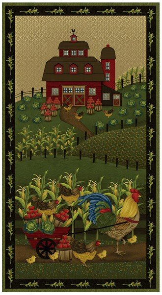 Farm to Market, 24 Fabric Panel by Jan Mott for Henry Glass Fabric : 2567P-99