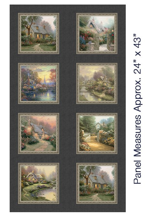Foxglove Cottage, Fabric Panel by Thomas Kinkade for Benartex : 3033-99