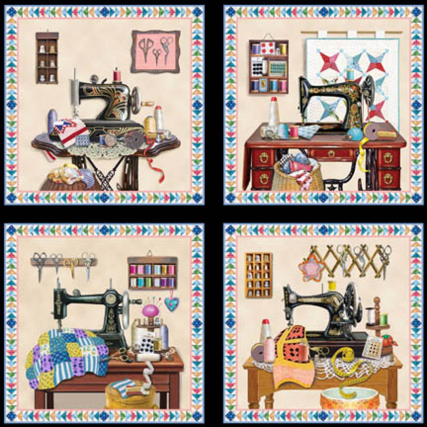 A Stitch in Time, Sewing Blocks, Fabric Panel 24in by Rosiland Solomon for Elizabeth's Studio : 3326-Black
