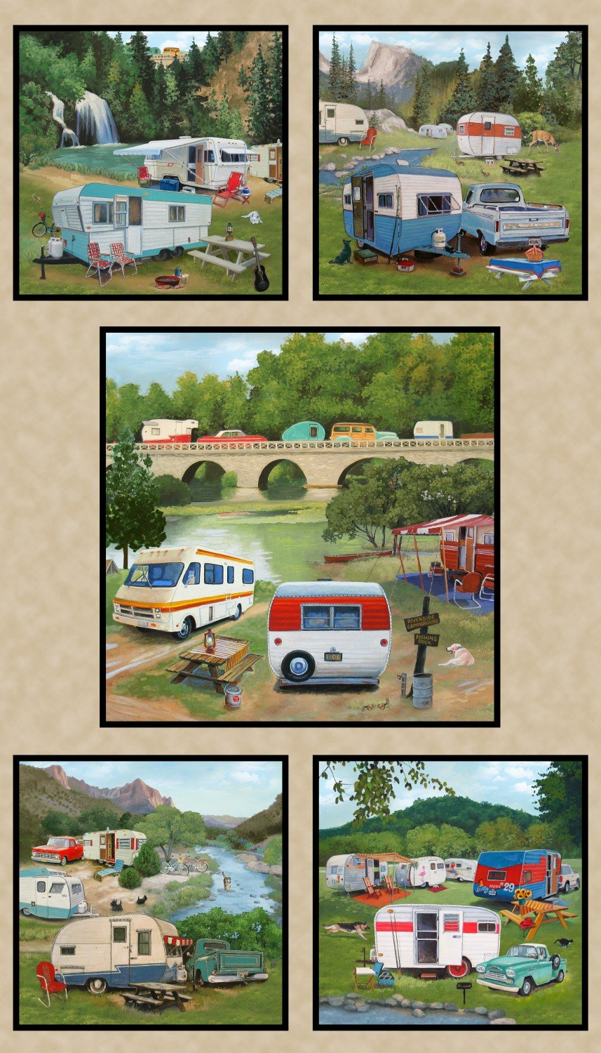 Vintage Trailers, Fabric Panel 24in by Paige Bridges for Elizabeth's Studio : 3506-Earth