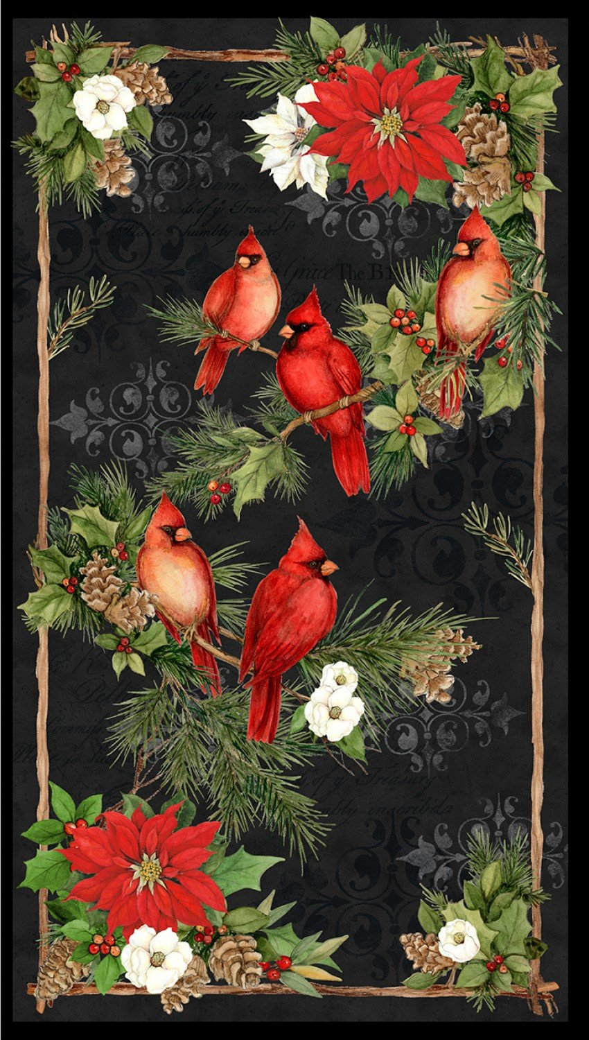 Cardinal Noel panel by Susan Winget Collection for Wilmington Prints 39636-937