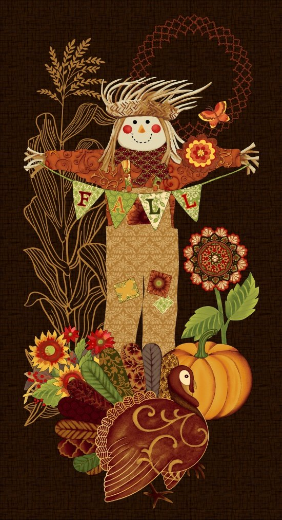Fall Festival, Scarecrow Panel, Fabric Panel 24in by Jennifer Brinley for Studio E Fabrics : 4259P-38