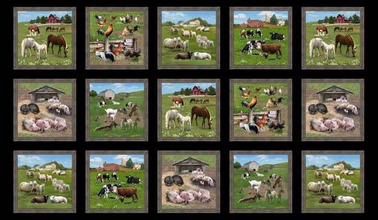 Farm Animals, Fabric Panel 24in by Elizabeth's Studio : 557-black