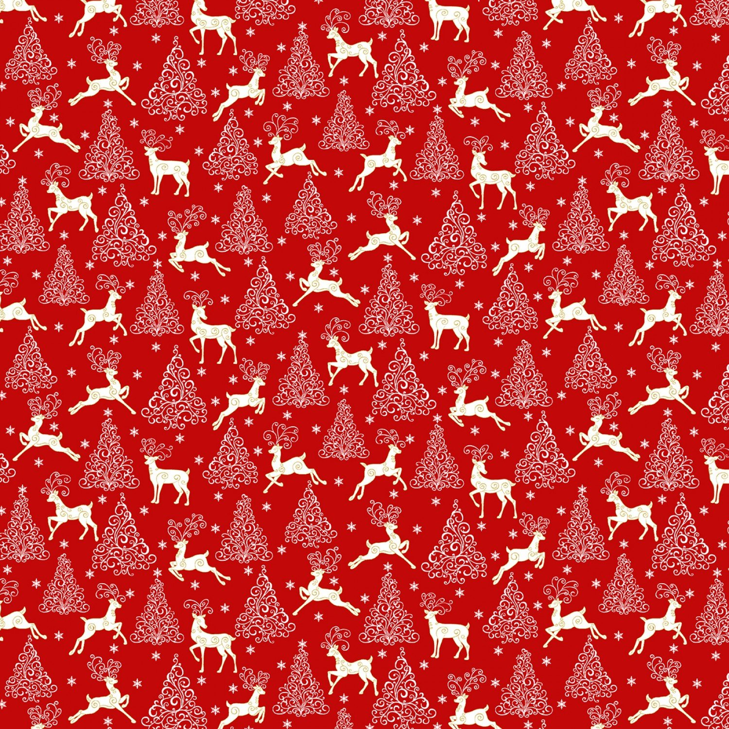 Deer Festival, Deer, Trees, and Stars Red fabric by Jackie Robinson for Benartex Fabrics 6876M-20