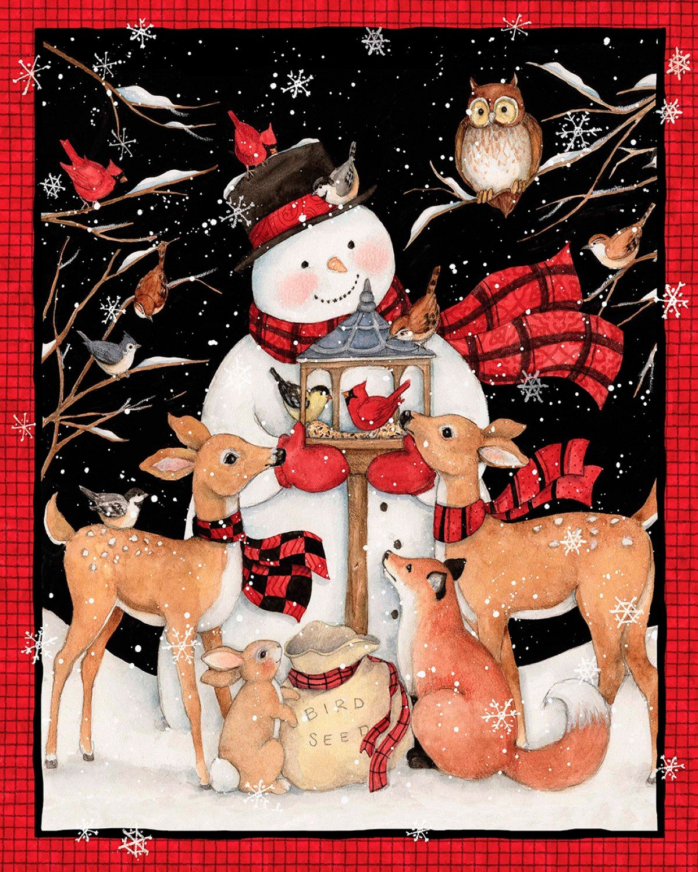 Christmas Snowman Deer Panel by Susan Wingett for Spring Creative 691121100715