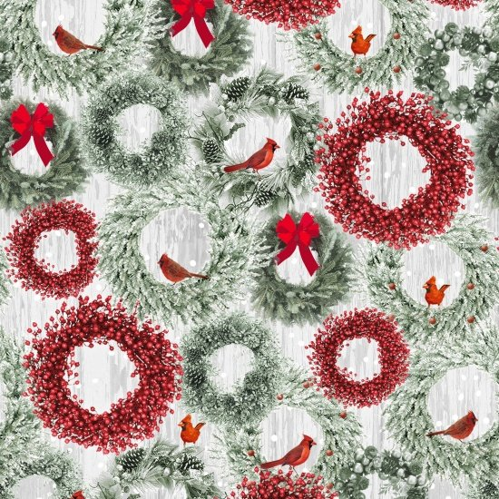 Holiday Wishes, Green and Red Wreaths in Snow by Jan Shade Beach for Henry Glass : 6931-66