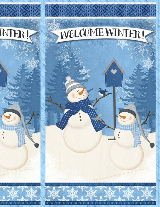 Welcome Winter, Fabric Panel 24in by Jennifer Pugh for Wilmington Prints : 82541-414