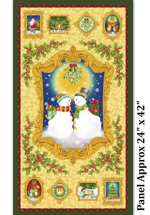 Mistletoe, Fabric Panel by J.Z.W. for Benartex : 845M-30