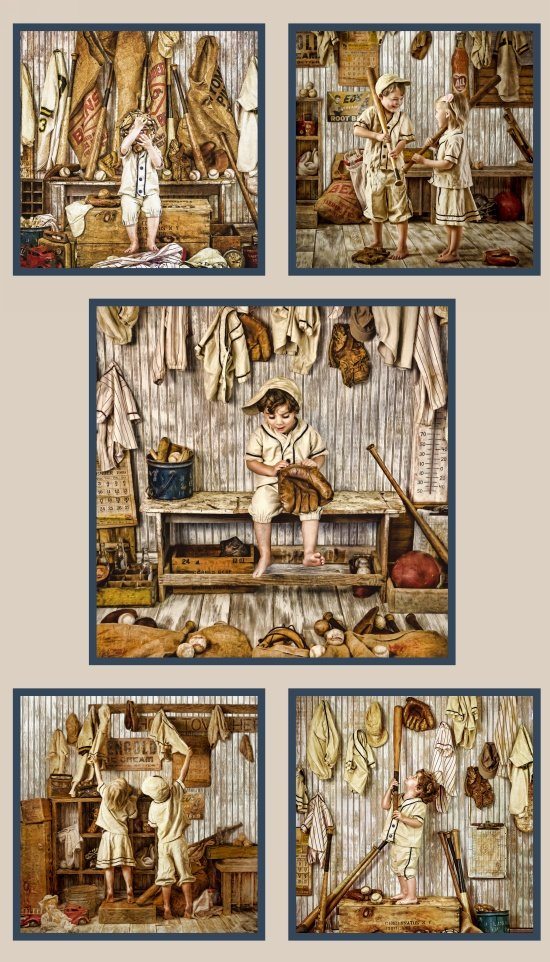 Play Ball, Fabric Panel by Larry Hersberger for Elizabeth's Studio : 8600-sepia