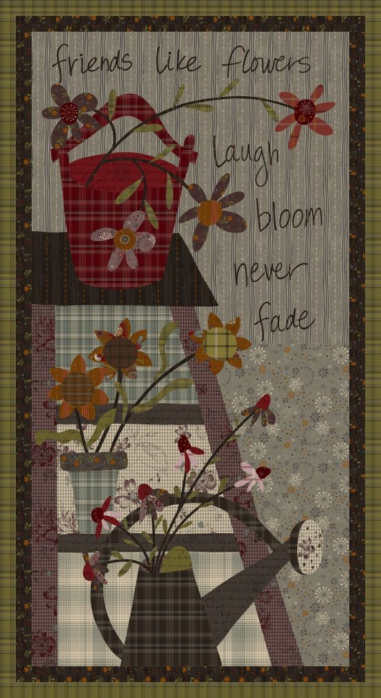 My Back Porch, Fabric Panel 24in by Janet Rae Nisbitt of One Sister Designs for Henry Glass : 8923P-11