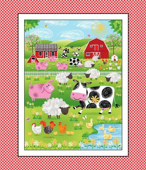 Best Friends Farm, Fabric Panel by Kate Mawdsley for Henry Glass Fabric : 9018P-88