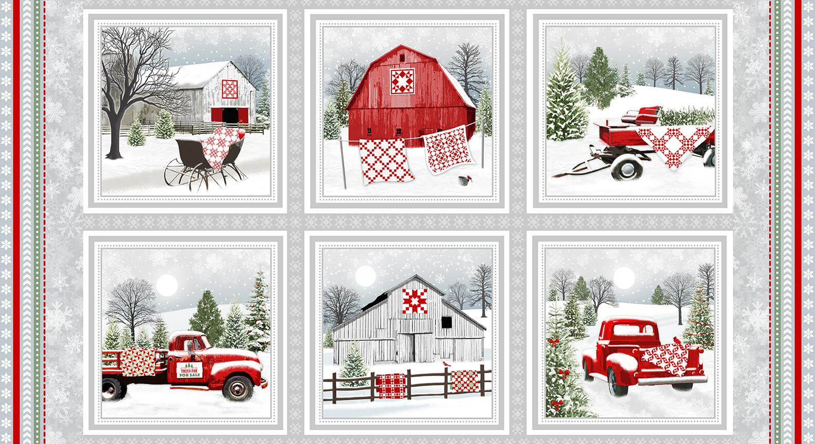 Holiday Heartland Panel Grey/Red Barns & Trucks in Blocks fabric by Jane Shade Beach for Henry Glass & Co.  9208-98
