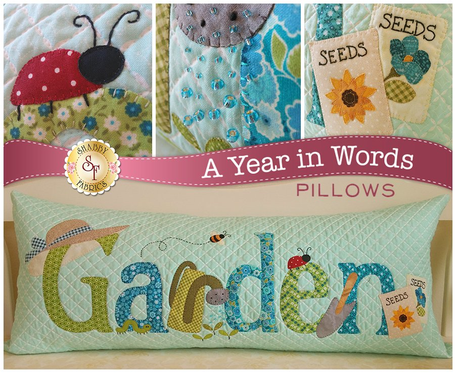 A Year in Words - Garden, Fabric Kit, Fabric Selection by Quilts N Gifts, Pattern by Shabby Fabrics : SF49828-Kit