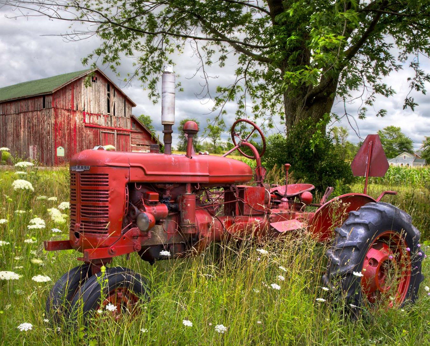 Tractor at the Barn, Digital Panel, 36in by David Textiles : AL-3700-9C
