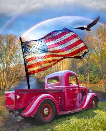 American Patriotic Red Truck Fabric Panel by David Textiles : AL-3817-9C
